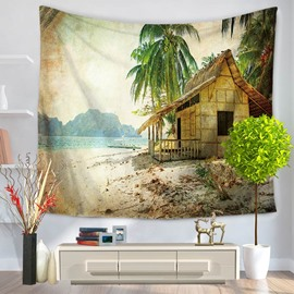 Peaceful Villa Seaside Palm Trees Pattern Decorative Hanging Wall Tapestry