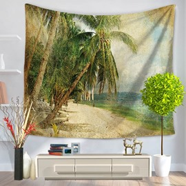 Abstract Palm Trees Seaside Ocean Holiday Decorative Hanging Wall Tapestry