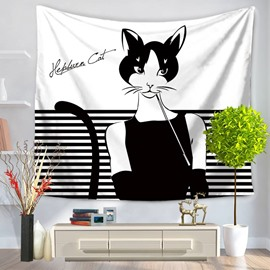Cute Audrey Hepburn Kitty Cat Cartoon Pattern Decorative Hanging Wall Tapestry