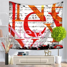 Orange Letters Print with White Bottom Color Decorative Hanging Wall Tapestry