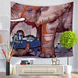 Abstract Child Homework under the Elephant Pattern Decorative Hanging Wall Tapestry