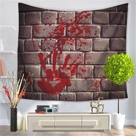 Stone Bricks with Bloody Hand Print Pattern Decorative Hanging Wall Tapestry