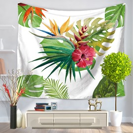 Watercolor Flower with Palm Leaves White Bottom Color Decorative Hanging Wall Tapestry