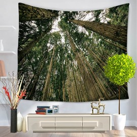 Towering Green Trees Nature Pattern Decorative Hanging Wall Tapestry