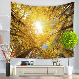 Shadows of Trees Sunlight Mother Earth Theme Pattern Decorative Hanging Wall Tapestry