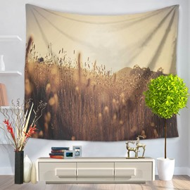 Bulrush under the Sunshine Nature Pattern Decorative Hanging Wall Tapestry