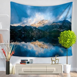 Pompousness Landscape with Peaceful Lake Pattern Decorative Hanging Wall Tapestry