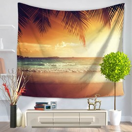 Sunset Warm Light with Sea Wave Pattern Decorative Hanging Wall Tapestry
