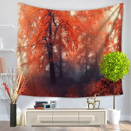 Foggy Forest with Maple Leaves Pattern Decorative Hanging Wall Tapestry