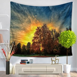 Sunrise with Beautiful Sky Tree of Life Pattern Decorative Hanging Wall Tapestry