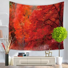 Autumn Maple Trees Nature Pattern Decorative Hanging Wall Tapestry