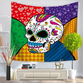 Cool Hippy Colorful Skull Pattern Decorative Hanging Wall Tapestry