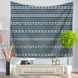 Blue Stripes Bohemian Indian Pattern Ethnic Style Decorative Hanging Wall Tapestry