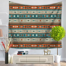 Blue and Yellow Stripes Bohemian Pattern Ethnic Style Decorative Hanging Wall Tapestry