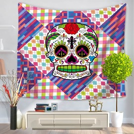 Little Grid with Colorful Skull Pattern Decorative Hanging Wall Tapestry