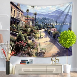 Oil Painting Shining Seaside Street Pattern Decorative Hanging Wall Tapestry