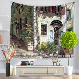 Oil Painting European Restaurant Pattern Decorative Hanging Wall Tapestry