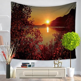 Fascinating Lakescape with Beautiful Sunset Decorative Hanging Wall Tapestry