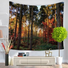 Mysterious Trees and Forest Pattern Decorative Hanging Wall Tapestry