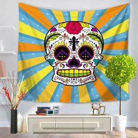 Cool Skull with Blue and Yellow Stripes Pattern Decorative Hanging Wall Tapestry