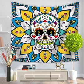 Colorful Creepy Skull Pattern Modern Style Decorative Hanging Wall Tapestry