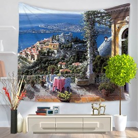 Realism Oil Painting Perfect Seascape Decorative Hanging Wall Tapestry