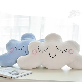 Cute Clouds with Shy Face Creative Plush Throw Pillow