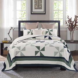 Queen Size Triangle Block Pattern Luxury Style 3-Piece Bed in a Bag