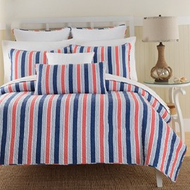 Queen Size Colorful Vertical Stripes Design Simple Style 3-Piece Bed in a Bag