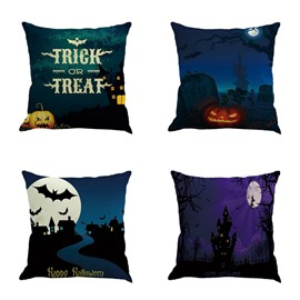 Happy Halloween Trick or Treat Pumpkin Pattern Square Linen Decorative Throw Pillows