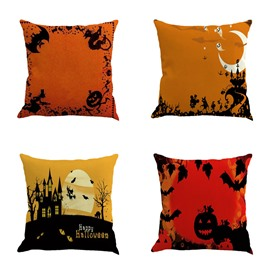 Happy Halloween Bat and Pumpkin Pattern Square Linen Decorative Throw Pillows