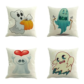 Cute Halloween White Ghost Square Linen Decorative Throw Pillows