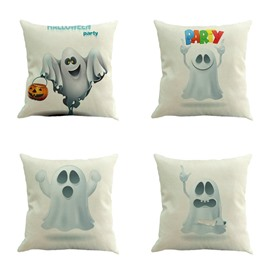 Halloween Cute White Ghost Square Linen Decorative Throw Pillows