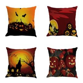 Halloween Pumpkin Pattern Square Linen Decorative Throw Pillows