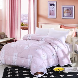 Plum Blossom Pattern Pastoral Style Lacy Pink Polyester Winter Thick Quilt