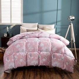 White Flower Blooming Pattern Pastoral Style Purple Feather Fabric Winter Quilt