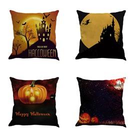 Pumpkin and Bat Pattern Happy Halloween Festival 18x18in Cotton Line Decorative Throw Pillow
