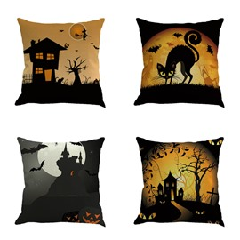 Happy Halloween Black Cat Under the Moonlight Square Cotton Linen Decorative Throw Pillows