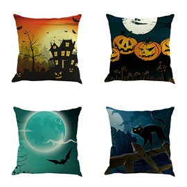 18x18in Happy Halloween Pumpkin and Moon Square Cotton Linen Decorative Throw Pillows