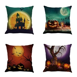 Happy Halloween Pumpkin and Moon Pattern Square Cotton Linen Decorative Throw Pillows