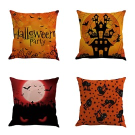 Happy Halloween Party Bat and Pumpkin Square Cotton Linen Decorative Throw Pillows