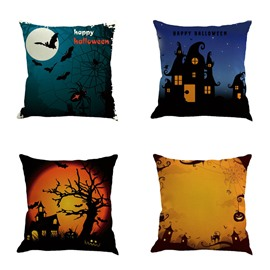 18x18in Happy Halloween Bat and Pumpkin Square Cotton Linen Decorative Throw Pillows