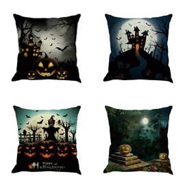 Happy Halloween Buildings and Bat Square Linen Decorative Throw Pillows