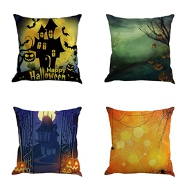 Halloween Night Landscape and Buildings Square Linen Decorative Throw Pillows