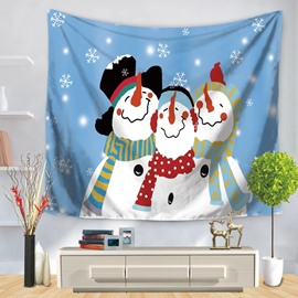 Snowman Family Celebrating Christmas Blue Decorative Hanging Wall Tapestry