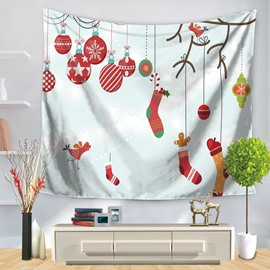 Christmas Gifts Inside Hanging Socks and Candies Decorative Wall Tapestry