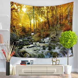 Gurgling Stream and Sunset Forest Natural Landscape Decorative Hanging Wall Tapestry