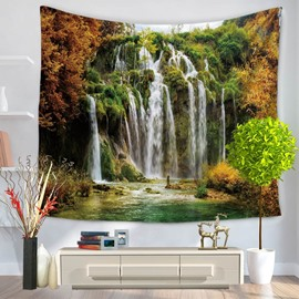 Splendid Mountain with Waterfall Natural Landscape Decorative Hanging Wall Tapestry