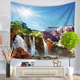 Sunshine and Waterfall Natural Landscape Decorative Hanging Wall Tapestry
