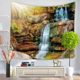 Waterfall and Woods Natural Landscape Decorative Hanging Wall Tapestry